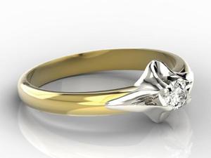 Pierścionek zaręczynowy z żółtego i białego złota AP-1316ZB z brylantem 0,16 ct - 2824314747