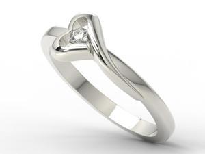 Pierścionek zaręczynowy z białego złota AP1606B z brylantem 0,06 ct - 2824314748