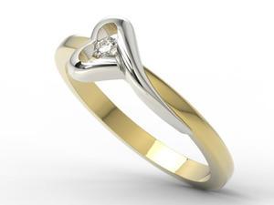 Pierścionek zaręczynowy z żółtego i białego złota AP-1606ZB z brylantem 0,06 ct - 2824314749
