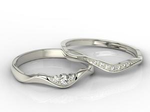 Pierścionek z białego złota, składany z dwóch części z brylantami - 2824314750