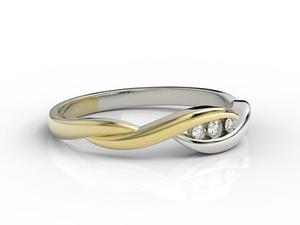 Pierścionek z żółtego i białego złota z brylantami AP-4304ZB - 2824314771
