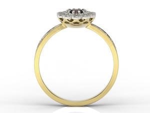 Pierścionek z żółtego i białego złota z granatem i diamentami JP-95ZB-R - 2824314793