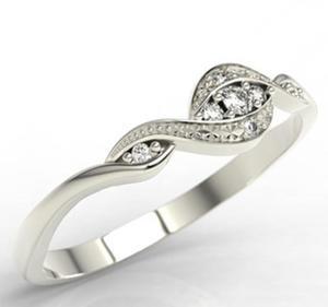 Pierścionek z białego złota z diamentami LP-75B - 2824314797