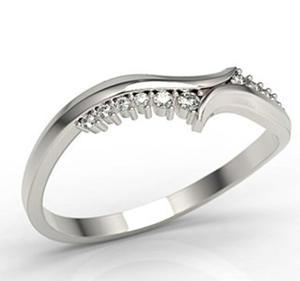 Pierścionek z białego złota z diamentami LP-76B - 2824314799