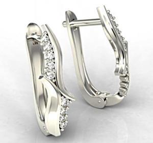 Kolczyki z białego złota z diamentami LPK-76B - 2824314800