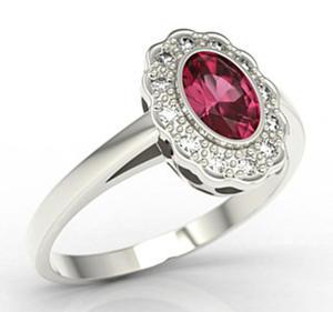 Pierścionek z białego złota z rubinem i diamentami LP-79B - 2824314808