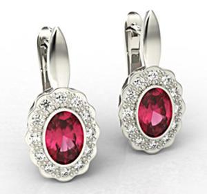 Kolczyki z białego złota z rubinami i diamentami LPK-79B - 2824314816