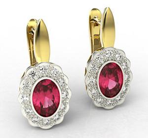Kolczyki z żółtego i białego złota z rubinami i diamentami LPK-79ZB - 2824314820