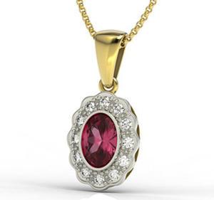 Wisiorek z żółtego i białego złota z rubinem i diamentami LPW-79ZB - 2824314828