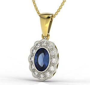 Wisiorek z żółtego i białego złota z szafirem i diamentami LPW-79ZB - 2824314829