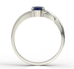 Pierścionek z białego złota z szafirem i diamentami AP-60B - Białe \ Szafir - 2824314832
