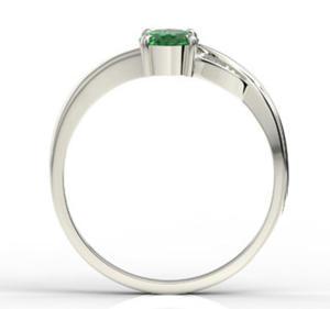 Pierścionek z białego złota ze szmaragdem i diamentami AP-60B - Białe \ Szmaragd - 2824314833