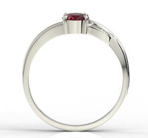 Pierścionek z białego złota z rubinem i diamentami AP-60B - Białe \ Rubin - 2824314835