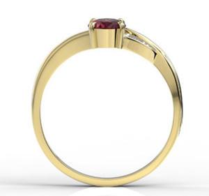 Pierścionek z żółtego złota z rubinem i diamentami AP-60Z-R - Żółte z rodowaniem \ Rubin - 2824314836