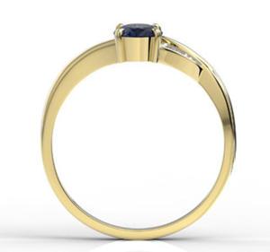 Pierścionek z żółtego złota z szafirem i diamentami AP-60Z-R - Żółte z rodowaniem \ Szafir - 2824314837