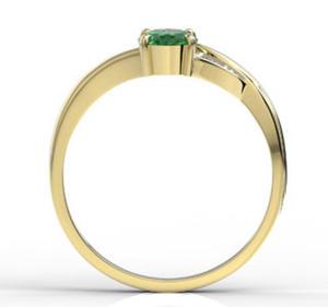 Pierścionek z żółtego złota ze szmaragdem i diamentami AP-60Z-R - Żółte z rodowaniem \ Szmaragd - 2824314839