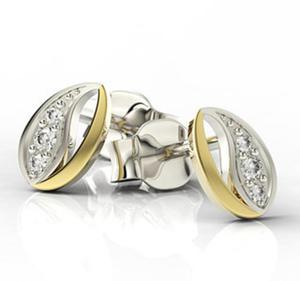 Kolczyki ziarenka kawy z żółtego i białego złota z diamentami LPK-85ZB - 2824314859