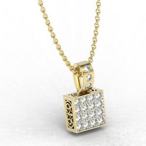 Wisiorek z żółtego złota z diamentami LPW-89Z-R - 2824314872