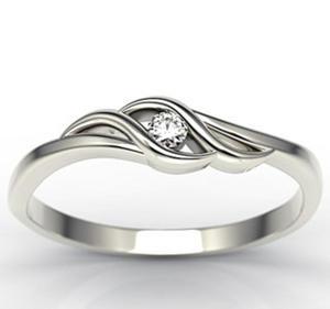 Pierścionek zaręczynowy z białego złota z brylantem LP-9304B - białe złoto z brylantem 0,04 ct - 2824314877
