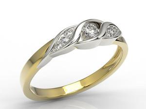 Pierścionek z żółtego i białego złota z diamentami AP-51ZB - wszystkie diamenty - 2824314903