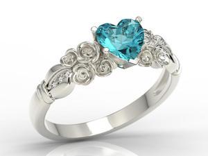 Pierścionek z białego złota z topazem Swarovski Ice Blue i diamentami AP-52B - 2824314929