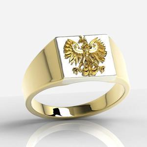 Sygnet z żółtego i białego złota z wizerunkiem orła SJ-24ZBZ - 2824314966