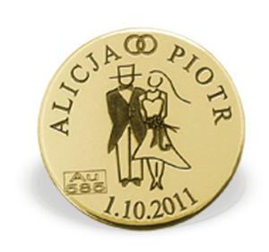 """Grosz """"na szczęście"""" ze złota M-1Z doskonały na ślub lub każdą rocznicę - na ślub lub każdą rocznicę \ ok. 16 mm - 2882374443"""
