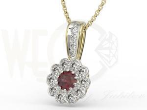 Wisiorek z białego złota z granatem i diamentami JPW-95ZBR - 2843843139