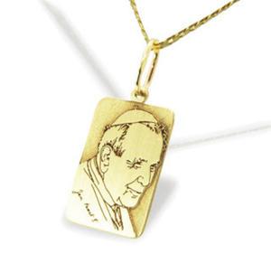 Medalik z żółtego złota z Błogosławiony Jan Paweł II, WEC-Z-JP-II-5-1 - ok. 17 mm X 8,8 mm - 2824315047