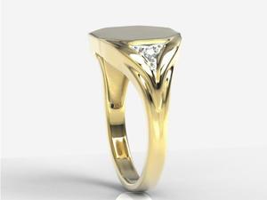Sygnet wykonany z żółtego złota z diamentami SJ-18Z-R - 2824315072