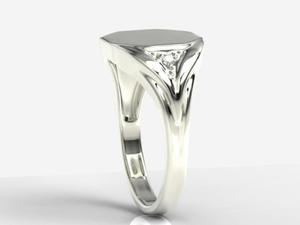 Sygnet wykonany z białego złota z diamentami SJ-18B - 2824315073