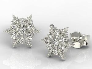 Kolczyki śnieżynki z białego złota z diamentami LPK-8609B - 2824315102
