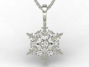 Wisiorek śnieżynka z białego złota z diamentami LPW-8608B - 2824315104