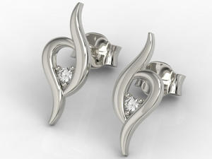 Kolczyki z białego złota z diamentami APK-84B - 2824315133