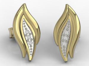 Kolczyki z żółtego złota z diamentami APK-86Z-R - 2824315153