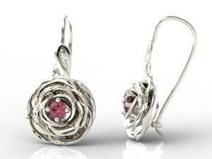 Kolczyki w kształcie róży z białego złota z rubinami i diamentami APK-95B - 2824315191