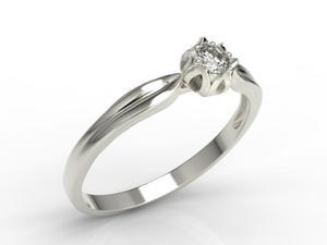 Pierścionek zaręczynowy w kształcie konwalii AP-4010B z białego złota z brylantem. - 0.1 ct - 2824315234