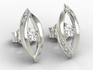 Kolczyki z białego złota z diamentami LPK-60B - 2824315289