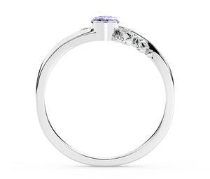 Pierścionek zaręczynowy z białego złota AP-39B z tanzanitem i diamentami 0,03 ct - Białe \ Tanzanit - 2824315340
