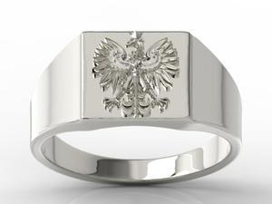 Sygnet z białego złota z wizerunkiem orła SJ-24B - 2824315406