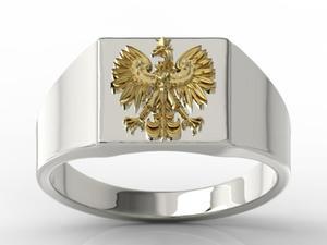 Sygnet z białego i żółtego złota z wizerunkiem orła SJ-24BZ - 2824315407