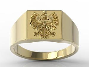 Sygnet z żółtego złota z wizerunkiem orła SJ-24Z - 2824315408