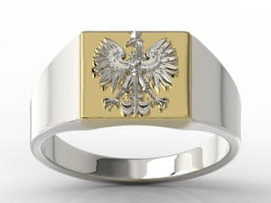 Sygnet z białego i żółtego złota z wizerunkiem orła SJ-24BZB - 2824315409