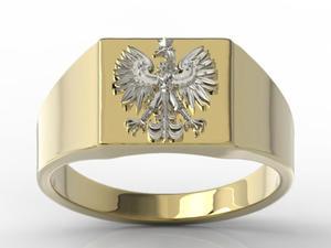 Sygnet z żółtego i białego złota z wizerunkiem orła SJ-24ZB - 2824315410