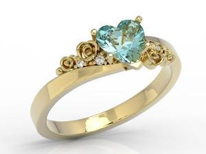 Pierścionek z topazem Swarovski Blue i diamentami AP-53Z - 2824315454