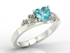 Pierścionek z topazem Swarovski Blue i diamentami AP-53B - 2824315457