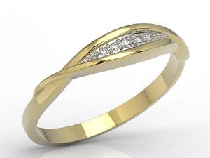 Pierścionek z żółtego złota z diamentami AP-76Z-R - 2824315463