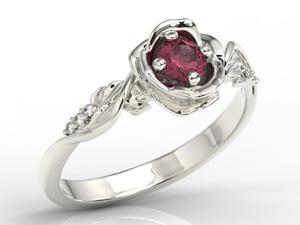 Pierścionek z białego złota w kształcie róży z rubinem i brylantami LP-7730B - 2824315497