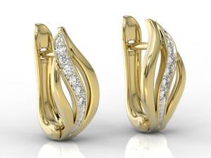 Kolczyki z żółtego złota z diamentami BPK-30Z-B - 2824315506