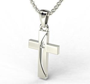 Krzyż wykonany z białego złota z diamentem KR-4B - 2824315568